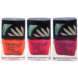 Color Fever Ultra Sparkle Nail Color - Orange/Pink/Blush Pack of 3 ( 0.90 Oz)