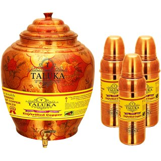 Taluka Apple Design Pure Copper Water Pot Dispenser Matka Water Tank Water Storage Capacity :- 16 Liter Weight :- 1600 Grams Set With 3 Copper Bottle 800 ML for use Storage Drinking Water Restaurant Hotel Home Ware Gift Item Home Decore Good Health Benefi