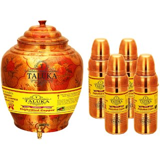 Taluka Apple Design Pure Copper Water Pot Dispenser Matka Water Tank Water Storage Capacity :- 16 Liter Weight :- 1600 Grams Set With 4 Copper Bottle 800 ML for use Storage Drinking Water Restaurant Hotel Home Ware Gift Item Home Decore Good Health Benefi