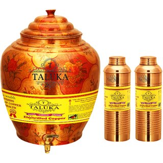 Taluka Apple Design Pure Copper Water Pot Dispenser Matka Water Tank Water Storage Capacity - 16 Liter Weight - 1600 Grams With Set of 2 Lining Bisleri Design Bottle 800 ML  EACH Bottle for use Storage Drinking Water Restaurant Hotel Home Ware Gift Item