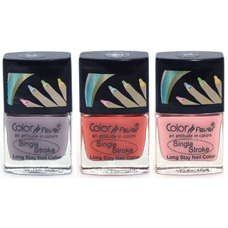 Color Fever Ultra Sparkle Nail Color - Purple / Brick Red / Pink Pack of 3 (0.90 Oz)