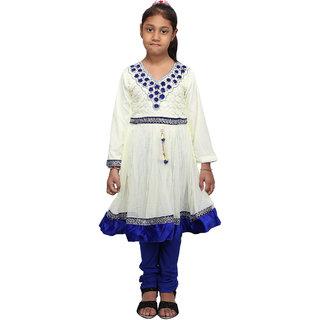Qeboo Beautiful White and Blue Kurti and Legging Set for Girls