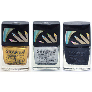 Color Fever Ultra Sparkle Nail Color - Gold/Silver/Black Pack of 3 (0.90 Oz)
