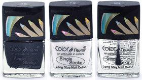 Color Fever Ultra Sparkle Nail Color - Black/White/Top Coat, Pack of 3 (0.90 Oz)