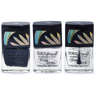 Color Fever Ultra Sparkle Nail Color - Black/White/Top Coat Pack of 3 (0.90 Oz)