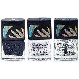 Color Fever Ultra Sparkle Nail Color - Black/White/Top Coat Pack of 3 (0.90 Oz)
