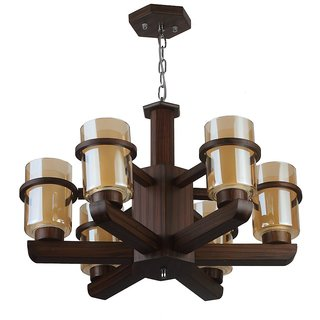 LeArc Designer Lighting Contemporary Glass Metal Wood Chandelier CH347