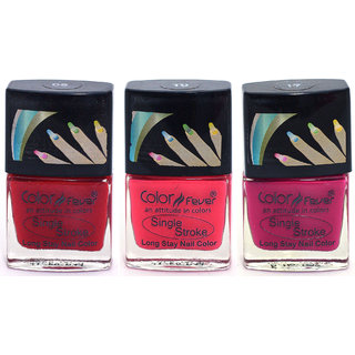Color Fever Ultra Sparkle Nail Color - Red/Pink/Tangerine Pack of 3 (0.90 Oz)
