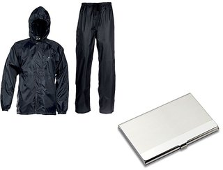 Combo Of Black Rain Coat With Steel Card Holder