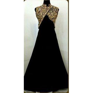 black Cotton Readymade Embroiederd Kurti