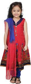 Crazeis Red and Blue kurta and pyjama set For Girl