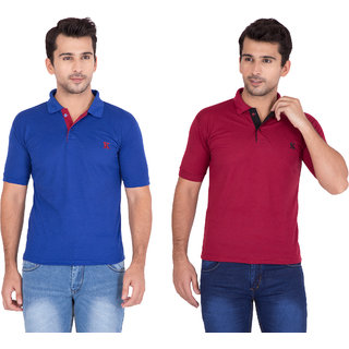 db5b8a1cfd4b Buy vestiario cotton blended polo neck t-shirt(COMBO OF 2) Online ...