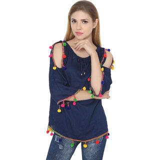 2e7a9ff8dc08b Buy Jollify Blue womnes cut shoulder pom pom top Online - Get 53% Off