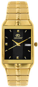 Adamo Rectangle Dail Gold Metal StrapMens Quartz Watch For Men