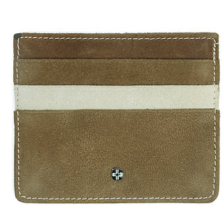 JLCollections 6 Card Slots Light Brown and Beige Unisex Leather Card Holder
