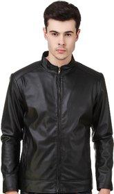 Leather Retail Black Plain Jacket