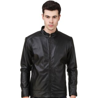 Leather Retail Black Plain Jacket