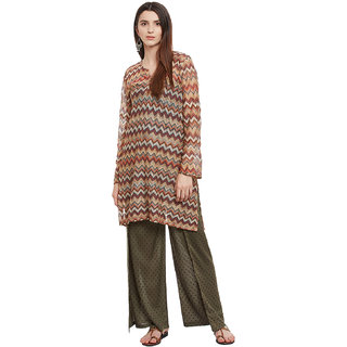 Famous by Payal Kapoor Multicolor Printed Rayon Stitched Kurti For Women