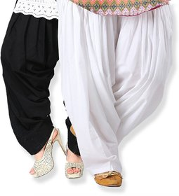 Stylobby Black and White Cotton Full Patiala Salwar combo of 2