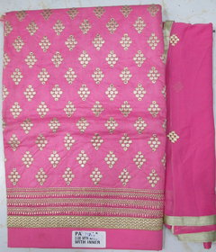 Chanderi Cotton Fully Embroided Suit With Inner And Patiyala Salwaar (Unstitched)