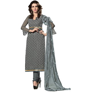 Riti Riwaz Grey Georgette Semi Stitched Suit