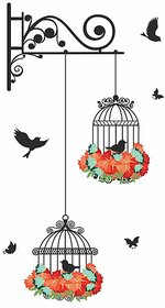 Wall Dreams Vinyl Nature Colorful Flower Covered Hanging Cage With Flying Black Birds (39cmX40cm)