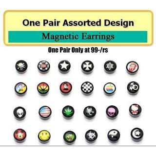 Magnatic Round Assorted Design Mens Women Unisex Stud Earrings No Piercing , 1 Pair CODEDa-7210