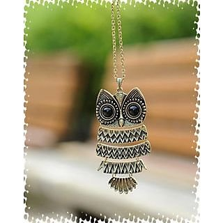 GirlZ! Bronze Classic Vintage Owl Necklace Pendant With Chain