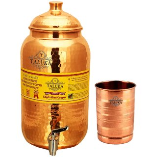 Taluka Pure Copper Handmade Water Pot Tank Matka Dispenser  2000 ML Capacity  with 1 Copper Glass 300 ML For Kitchen Good Health Benefit