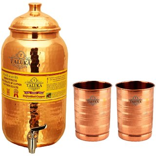 Taluka Pure Copper Handmade Water Pot Tank Matka Dispenser | 2000 ML Capacity | with 2 Copper Glass 300 ML Each | For Kitchen Good Health Benefit