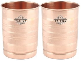 Taluka Pure Copper Glass Tumbler, Set of 2, 300 ML for Storage and Drinking Purpose For Ayurveda Good Health Benefits ( 3 x 4 inches ) Hotel Restaurant Home Drinkware Glass