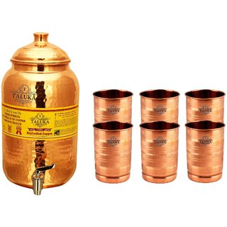 Taluka Pure Copper Handmade Water Pot Tank Matka Dispenser | 2000 ML Capacity | with 6 Copper Glass 300 ML Each | For Kitchen Good Health Benefit