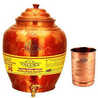 Taluka T-APPWP-STG1P Copper 16 Liter Water Pot With 1 Copper Glass