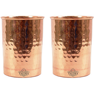 Taluka Set of 2 Traditional Handmade Pure Copper Glass Cup Volume 350 ML Water Storage for Good Health Yoga, Ayurveda Benefits Tumbler