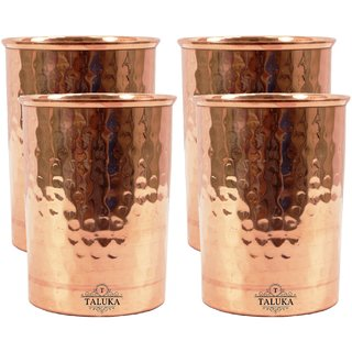 Taluka Set of 4 Traditional Handmade Pure Copper Glass Cup Volume 350 ML Water Storage for Good Health Yoga  Ayurveda Benefits Tumbler