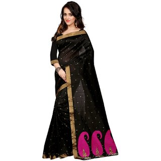 Madhav Retail Black Cotton Self Design Saree With Blouse