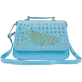 Clementine Premium Peacock Design Women's Sling Bag With Adjustable Strap (Aqua Color)(sskclem236)