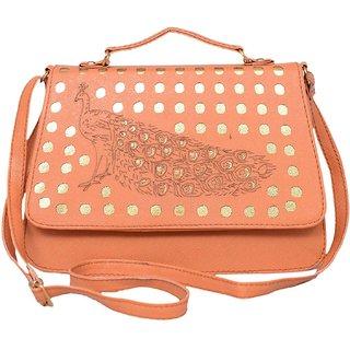 Clementine Premium Peacock Design Women's Sling Bag With Adjustable Strap (Orange Color)(sskclem238)