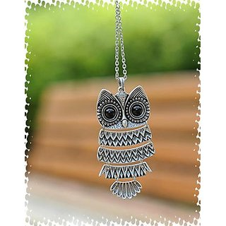 GirlZ!Classic Vintage Owl Necklace Pendant With Chain - Silver