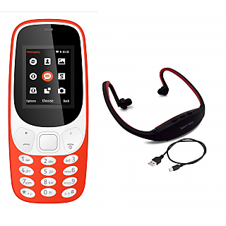 Combo Of IKall K3310 and Neckband (Dual sim, 1.8 Inch Display, 800 Mah Battery, Made In India) (No Earphones)