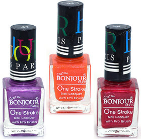 Coat Me Bonjour Paris True Color Nail Polish - Purple / Orange / Maroon, Pack of 3 (0.90 Oz)