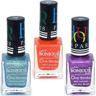 Coat Me Bonjour Paris True Color Nail Polish - Blue / Orange / Purple Pack of 3 (0.90 Oz)