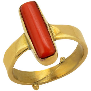 11.50 ratti Natural Red coral Adjustable ring