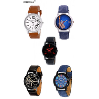 DCH Set Of 5 Multi Color Designer Analogue Watch For Boys  Men