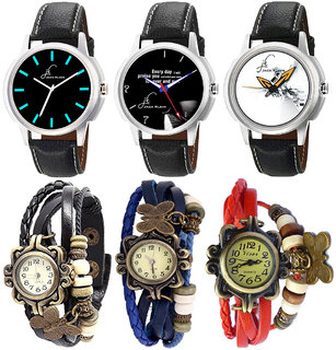 Combo of 3 Stylish Graphic Watches For Men And 3 Different Colour Vintage Bracelet Watches For Women
