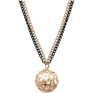 JewelMaze Two Toned Plated Austrian Stone Round Shape Chain Pendant -AAB1162