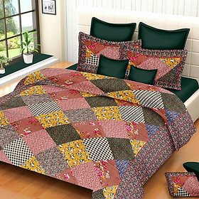 Multicolour Bedsheet With 2 Pillow Cover