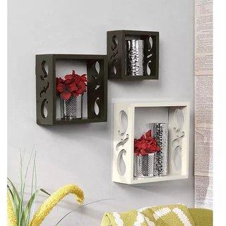 Onlineshoppee Square Nesting MDF Wall Shelf Size(LxBxH-10x4x10) Inch - Black White