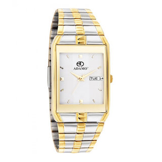 Adamo Rectangle Dail Gold And Silver Metal StrapMens Quartz Watch For Men