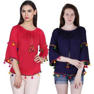 Jollify Branded Women's Blue and red Top Combo Pack Of 2